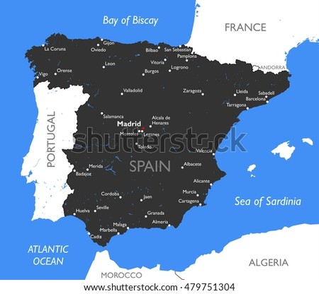 Map Of Spain To Color.Spain Map Vector Detailed Color Spain Stock Vector Royalty Free