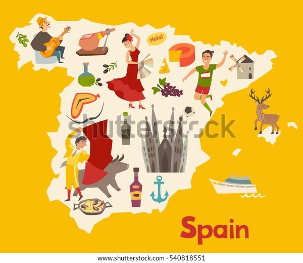 Spain map vector. Illustrated map of Spain for children/kid. Cartoon abstract atlas of Spain with landmark: flamenco, guitar, sangria, paella, bullfight and jamon