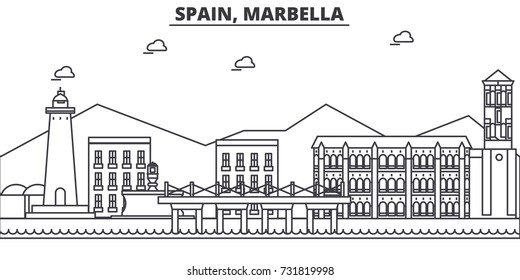 Spain, Marbella architecture line skyline illustration. Linear vector cityscape with famous landmarks, city sights, design icons. Landscape wtih editable strokes
