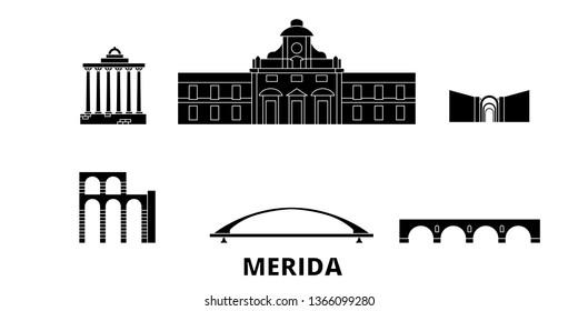 Spain, Merida flat travel skyline set. Spain, Merida black city vector panorama, illustration, travel sights, landmarks, streets.