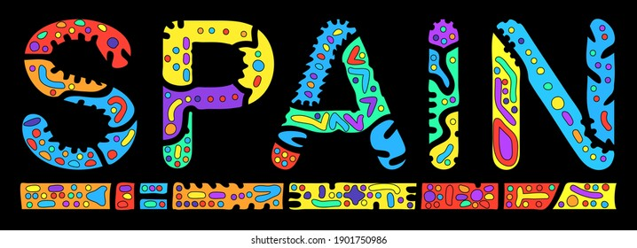 Spain. Multicolored bright isolate inscription. Colored curves decorative doodle letters. Spain for print, clothing, spanish t-shirt, souvenir, booklet, banner, flyer, ads. Stock vector picture.