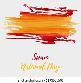 Spain National day background. Abstract brushed watercolor flag of Spain. Holiday template background.