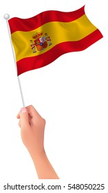 Spain national flag hand icon