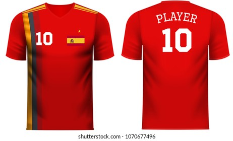 Spain national soccer team shirt in generic country colors for fan apparel.