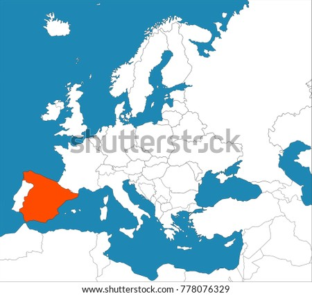 Europe Spain Map.Spain On Europe Map Stock Vector Royalty Free 778076329 Shutterstock