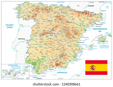 Spain Physical Map Isolated On White. Highly detailed map of Spain. Image contains layers with shaded contours, land names, city names, water objects and it's names, highways.