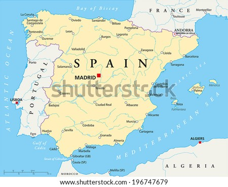 Coast Of Spain Map.Spain Political Map Capital Madrid National Stock Vector Royalty