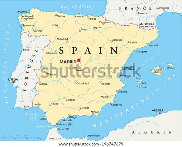 Spain Political Map Capital Madrid National Stock Vector ...