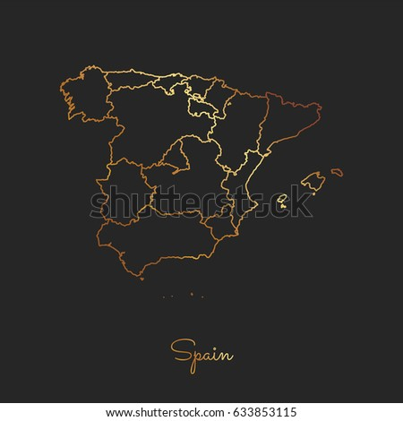 Map Of Spain By Region.Spain Region Map Golden Gradient Outline Stock Vector Royalty Free
