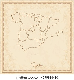 Spain region map: stilyzed old pirate parchment imitation. Detailed map of Spain regions. Vector illustration.