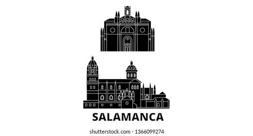 Spain, Salamanca flat travel skyline set. Spain, Salamanca black city vector panorama, illustration, travel sights, landmarks, streets.