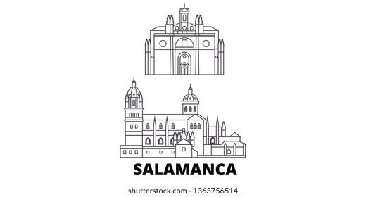 Spain, Salamanca line travel skyline set. Spain, Salamanca outline city vector illustration, symbol, travel sights, landmarks.