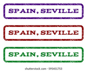 Spain, Seville watermark stamp. Text caption inside rounded rectangle with grunge design style. Vector variants are indigo blue, red, green ink colors. Rubber seal stamp with dirty texture.