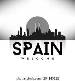 Spain Skyline Silhouette design, vector illustration, Black.