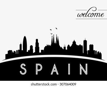 Spain skyline silhouette vector illustration, black and white design.