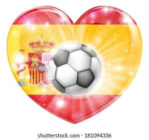 Spain soccer football ball flag love heart concept with the Spanish flag in a heart shape and a soccer ball flying out
