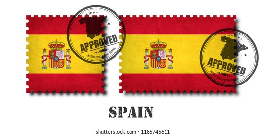 Spain or spanish flag pattern postage stamp with grunge old scratch texture and affix a seal on isolated background . Black color country name with abrasion . Square and rectangle shape . Vector .