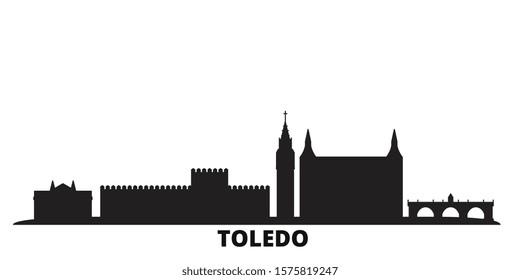 Spain, Toledo city skyline isolated vector illustration. Spain, Toledo travel black cityscape