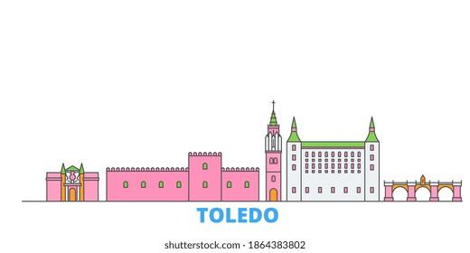 Spain, Toledo line cityscape, flat vector. Travel city landmark, oultine illustration, line world icons