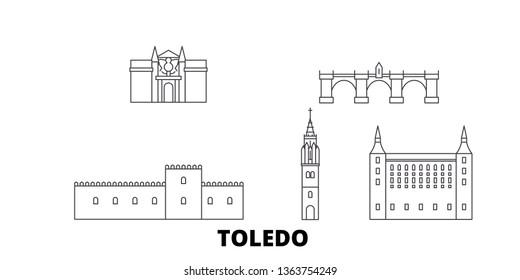 Spain, Toledo line travel skyline set. Spain, Toledo outline city vector illustration, symbol, travel sights, landmarks.