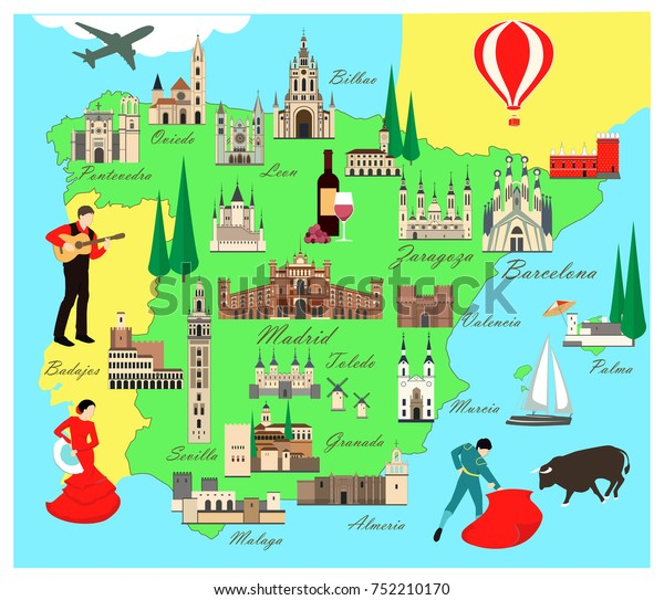 Travel Map Of Spain.Spain Travel Map Sights Flat Style Stock Vector Royalty Free 752210170
