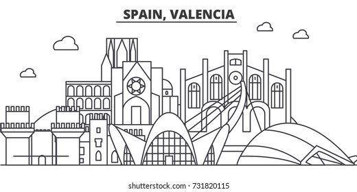 Spain, Valencia architecture line skyline illustration. Linear vector cityscape with famous landmarks, city sights, design icons. Landscape wtih editable strokes