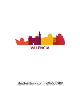 Spain Valencia city landscape modern panorama silhouette skyline vector logo icon
