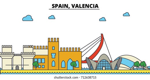 Spain, Valencia. City skyline: architecture, buildings, streets, silhouette, landscape, panorama, landmarks. Editable strokes. Flat design line vector illustration concept. Isolated icons set