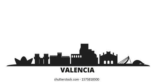 Spain, Valencia city skyline isolated vector illustration. Spain, Valencia travel black cityscape