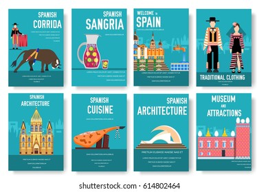 Spain vector brochure cards set. Country template of flyear, magazines, posters, book cover, banners. Travel invitation concept background. Layout architecture illustrations modern page
