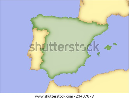 Spain Vector Map Borders Surrounding Countries Stock Vector (Royalty ...