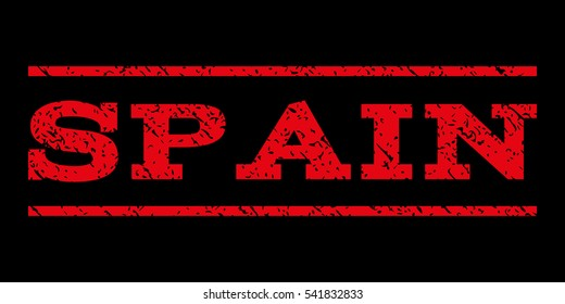 Spain watermark stamp. Text tag between horizontal parallel lines with grunge design style. Rubber seal stamp with unclean texture. Vector red color ink imprint on a black background.