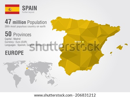 Spain World Map Pixel Diamond Texture Stock Vector (Royalty Free ...