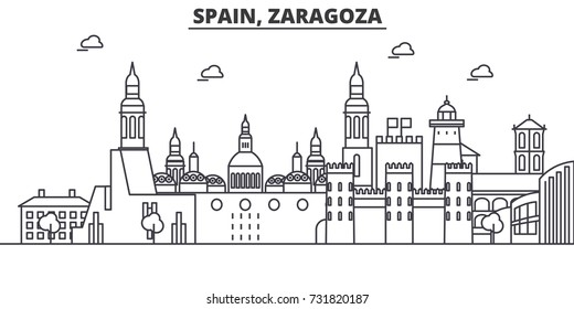 Spain, Zaragoza architecture line skyline illustration. Linear vector cityscape with famous landmarks, city sights, design icons. Landscape wtih editable strokes