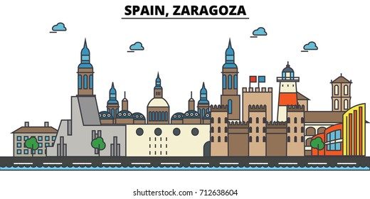 Spain, Zaragoza. City skyline: architecture, buildings, streets, silhouette, landscape, panorama, landmarks. Editable strokes. Flat design line vector illustration concept. Isolated icons set