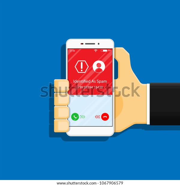 Spam Call Phone Protection Protect Risk Stock Vector