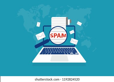 Spam Email Envelope Warning Window Appear On Laptop Screen. Virus, piracy hacking and security concept.  Website banner of e-mail protection anti-malware software. Vector illustration Minimalist style