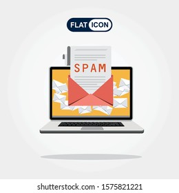 Spam Email Warning Window Appear On Laptop Screen. Concept of virus, piracy, hacking and security. Envelope with spam. Website banner of e-mail protection, anti-malware software. Flat vector.