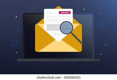 Spam Email Warning Window vector concept illustration. Laptop with yellow mail envelope, spam fraud alert and warning message. Irrelevant unsolicited malicious software, malware spreading virus, scam