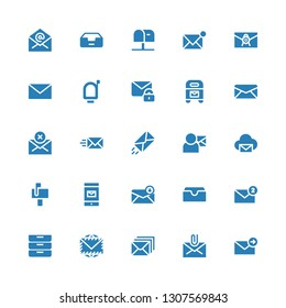 spam icon set. Collection of 25 filled spam icons included Email, Mail, Envelope, Inboxes, Inbox, Mailbox
