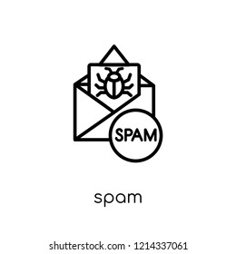 Spam icon. Trendy modern flat linear vector Spam icon on white background from thin line Internet Security and Networking collection, editable outline stroke vector illustration