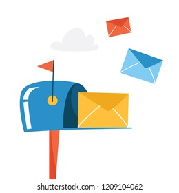 Spam mail in letterbox concept. Idea of incoming email message with advertising inside. System protection, security and privacy. Isolated flat vector illustration