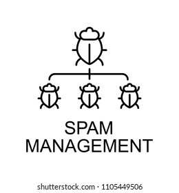 spam management outline icon. Element of data protection icon with name for mobile concept and web apps. Thin line spam management icon can be used for web and mobile on white background