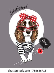 Spaniel Dog in a striped cardigan, in a red polka dot headband, in a sunglasses and with a photo booth props. Vector illustration.