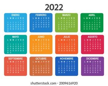 Spanish 2022 year calendar. Week starts on Monday. Vector illustration