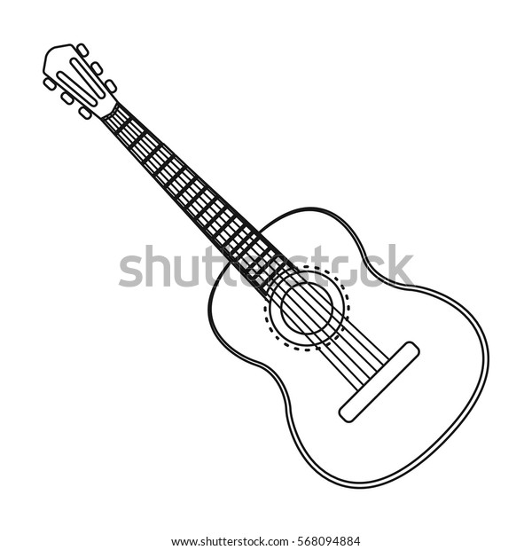 Spanish acoustic guitar icon in outline style isolated on white background. Spain country symbol stock vector illustration.