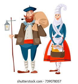 Spanish (Basque) Christmas Tradition. Olentzero and Mari Domingi. Traditional Christmas characters in Basque country and Navarre. Vector illustration
