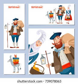 Spanish (Basque) Christmas Tradition. Set of 4 Christmas greeting cards with Olentzero, Mari Domingi and a little donkey loaded with gifts. Vector illustration