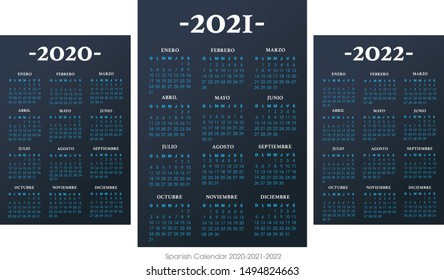 Spanish calendar 2010-2021-2022 vector template text is outline font Avant-Garde and Athelas