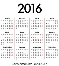 Spanish Calendar for 2016. Mondays first. Vector illustration